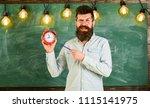 bearded hipster holds clock ... | Shutterstock . vector #1115141975