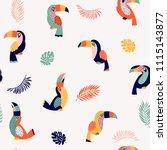 summer paradise toucan vector... | Shutterstock .eps vector #1115143877