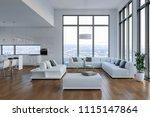 modern bright loft with big... | Shutterstock . vector #1115147864