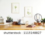 vintage  creative home office... | Shutterstock . vector #1115148827
