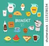 funny breakfast set. vector... | Shutterstock .eps vector #1115158154