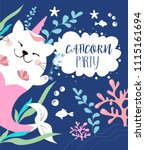 Stock vector  fairy cat unicorn mermaid greeting card 1115161694