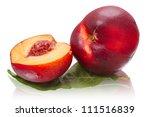 Two ripe nectarines isolated on white background - stock photo