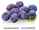Ripe plums isolated on white background - stock photo