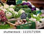 fresh bio mushrooms and various ...   Shutterstock . vector #1115171504
