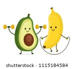 cute happy smiling banana and... | Shutterstock . vector #1115184584