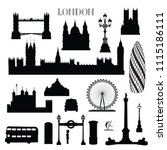 london city icon set. england... | Shutterstock .eps vector #1115186111
