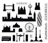 london city icon set. england... | Shutterstock .eps vector #1115186111