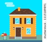 house exterior vector flat... | Shutterstock .eps vector #1115189891