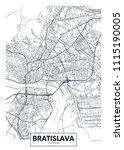 detailed vector poster city map ... | Shutterstock .eps vector #1115190005