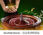 collage of casino images with a ... | Shutterstock . vector #1115190101