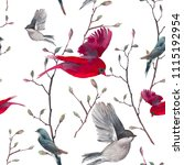 seamless birds pattern for... | Shutterstock . vector #1115192954