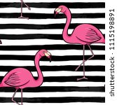 hand drawn pink flamingo... | Shutterstock .eps vector #1115198891