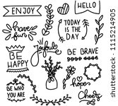 hand drawn inspirational quotes ... | Shutterstock .eps vector #1115214905