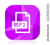 mp3 file violet square vector... | Shutterstock .eps vector #1115221421