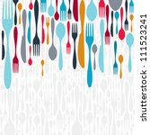 multicolored cutlery icons... | Shutterstock . vector #111523241