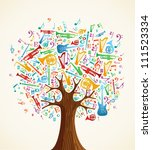 abstract musical tree made with ... | Shutterstock . vector #111523334