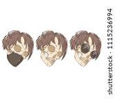 three skulls. mask and glasses.   Shutterstock .eps vector #1115236994