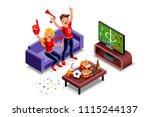 friends  football fans watching ... | Shutterstock .eps vector #1115244137