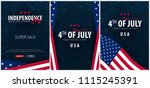 set posters of fourth of july.... | Shutterstock .eps vector #1115245391
