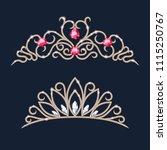 golden tiara crowns set....   Shutterstock .eps vector #1115250767