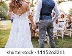 unrecognizable bride and groom...   Shutterstock . vector #1115263211