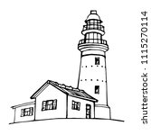 lighthouse  beacon  pharos hand ... | Shutterstock .eps vector #1115270114
