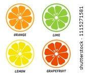 set of citrus icon. orange ... | Shutterstock .eps vector #1115271581