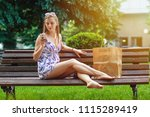young woman rest after shopping ... | Shutterstock . vector #1115289419
