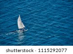 sailor in solitary sailing in... | Shutterstock . vector #1115292077