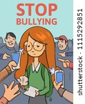 stop school bullying poster.... | Shutterstock .eps vector #1115292851