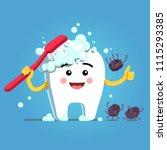 happy cartoon tooth character...   Shutterstock .eps vector #1115293385