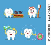 funny playful cartoon teeth... | Shutterstock .eps vector #1115293394