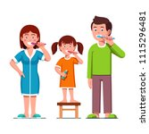 smiling family father  mother... | Shutterstock .eps vector #1115296481