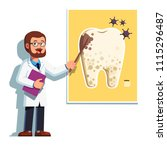 dentist man showing caries... | Shutterstock .eps vector #1115296487