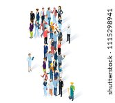 crowded isometric people vector ... | Shutterstock .eps vector #1115298941