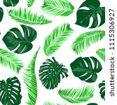 vector monstera and palm leaves.... | Shutterstock .eps vector #1115306927