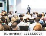 speaker giving a talk in... | Shutterstock . vector #1115320724
