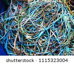 pile of scrap wire shield  pvc... | Shutterstock . vector #1115323004