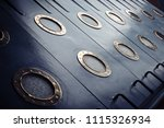 armored portholes of brass with ... | Shutterstock . vector #1115326934