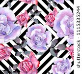 pink rose. floral botanical... | Shutterstock . vector #1115335244