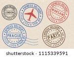 set of colored ink postmarks...   Shutterstock . vector #1115339591