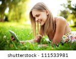 young woman using tablet... | Shutterstock . vector #111533981