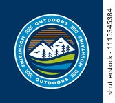 outdoor blue mountain badge... | Shutterstock .eps vector #1115345384