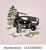 off road car. off roading suv... | Shutterstock .eps vector #1115350031