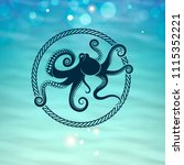 octopus icon on the sea... | Shutterstock .eps vector #1115352221
