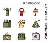hiking and camping line icons... | Shutterstock .eps vector #1115352575