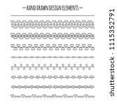 romantic brushes. border with... | Shutterstock .eps vector #1115352791