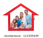 Family and home concept with young adults and two kids in house shaped frame - isolated - stock photo