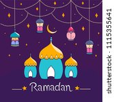 ramadan background and colorful ... | Shutterstock .eps vector #1115355641